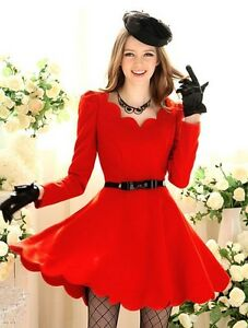 Women-Scallop-Neck-Long-Sleeve-Red-Puff-Shoulders-Skater-Dress
