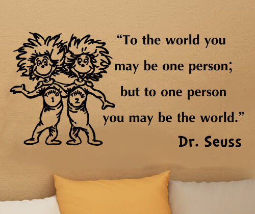 Dr Seuss Thing 1 Thing 2 inspirational wall quote vinyl art decal sticker 32in