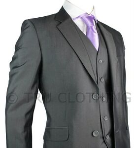 Mens Suit Silver Dark Grey Shiny 3 Piece Work Wedding Party Suit ...