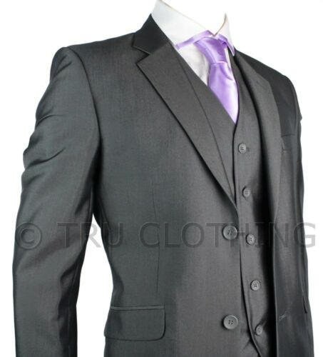 Mens Suit Silver Dark Grey Shiny 3 Piece Work Wedding Party Suit Short Long & Re