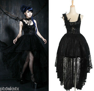Punk Rave Gothic Evening Dress with Long Lace Train Q-174
