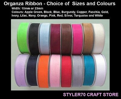 Organza Sheer Ribbon Club Green 10mm 15mm 23mm 38mm X 25M Choice of 19 Shades