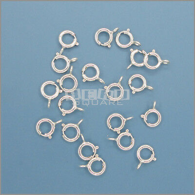 50PC .925 Sterling Silver Spring Ring Clasp w/ Open Ring Connector 5mm #33223