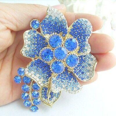 Pretty Orchid Flower Brooch Pin w Blue Rhinestone Crystals EE04986C7