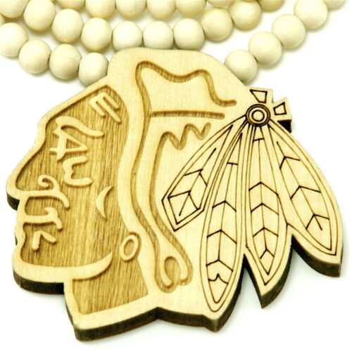 Chief Necklace New Natural Good Wood Style Pendant And 36 Inch Wood Bead Chain