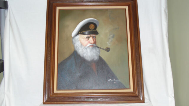 Vintage 1950's-60's David Pelbam Sea Captain (Ahab) Framed Oil Painting-/S/ Org?
