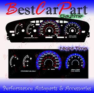 BLACK-95-99-Dodge-Neon-MT-w-Tach-INDIGLO-GLOW-BLUE-WHITE-EL-REVERSE-GAUGES