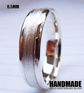 Handmade-6-5mm-Solid-925Sterling-Silver-Wedding-Engagement-Band-Ring-All-Size