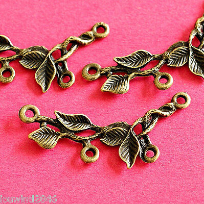 Wholesale 50pcs Antique Bronze Branch Twig with Leaf Connectors