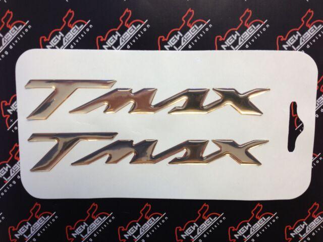 2 ADESIVI/STICKERS in RESINA 3D SCRITTA TMAX ORO CROMO per SCOOTER YAMAHA T MAX