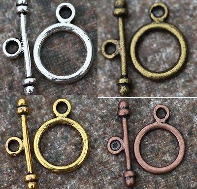 30 Sets Round Toggle Clasp Gold/Silver/Bronze/Copper Tone