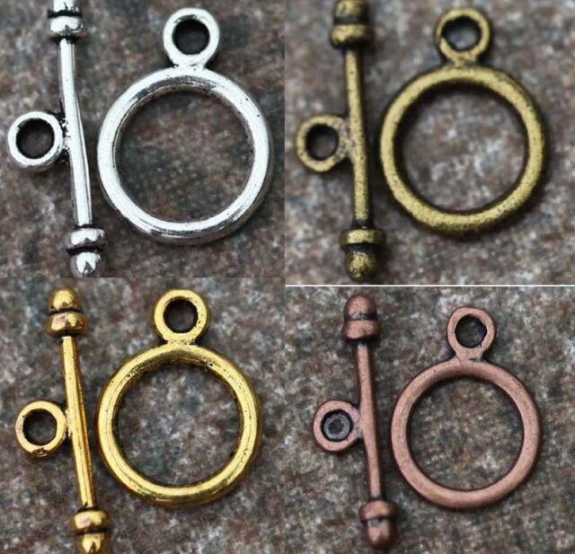 30 Sets Round Toggle Clasp Gold,Silver&Bronze&Copper Tone Connectors For Jewelry