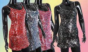 New-Ladies-Sequin-Evening-Party-Mini-Dress-Top-Tunic-Sizes-8-10-12-Tops-1686C