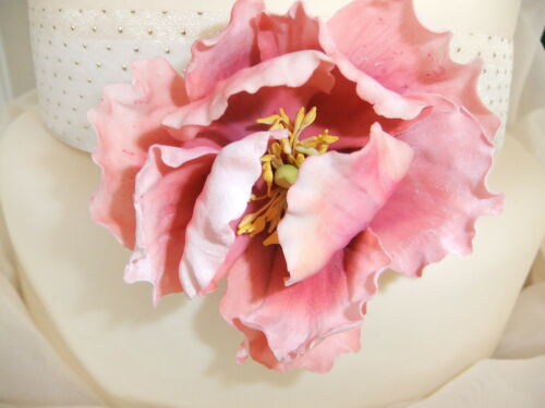 "Single Wired 3"" Semi Open Peony Sugar Flower Cake Decoration Topper *Wedding*"