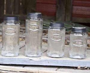 Unique-Primitive-Rustic-Hoosier-Kitchen-Cabinet-Mfg-Co-Glass-4-pc-Canister-Set