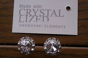 Genuine-Swarovski-Elements-13mm-Clear-Crystal-Stud-Earrings-Gift-Bag