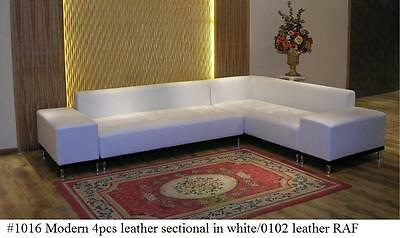 4 PC Modern contemporary white Leather Sectional Sofa w/ Detachable Arms #1016