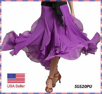 SGS20PU New Purple Women Ballroom Smooth Sexy Tango Flamenco Dance Skirt Costume