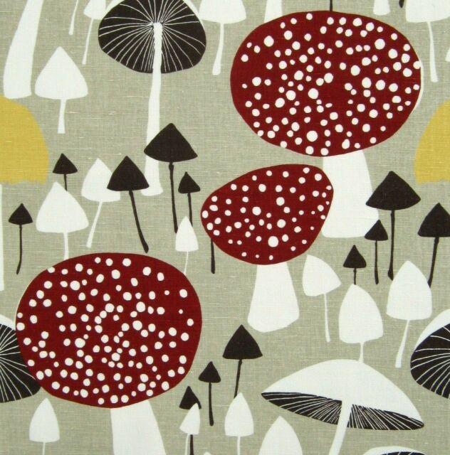 scandinavian tea towel 50s 60s 70s era vtg design fabric Wild Mushroom