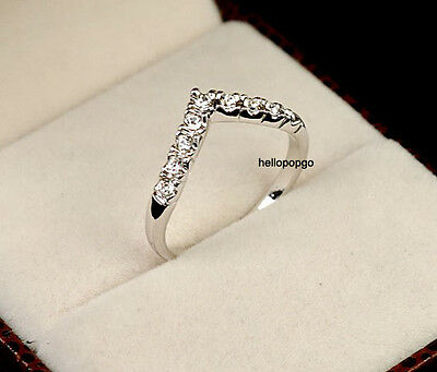 Elegant Jewelry 18K White Gold GP Swarovski Crystal Heart Ring BR1268
