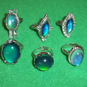 6 mood rings costume jewelry ring color changing for Fashion jewelry that won t change color