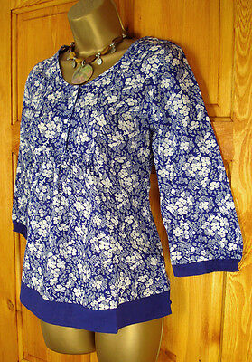 NEW EX WHITE STUFF BLUE WHITE FLORAL SUMMER TUNIC BLOUSE TOP UK SIZE 8 - 16