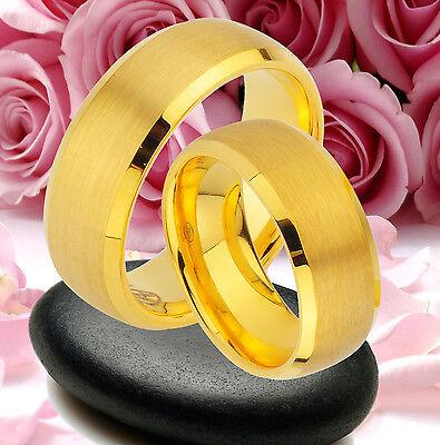 Herzhaft 2 Wolfram Ringe Trauringe Inkl. Lasergravur , Komplett Ip Gold Platierung ; Jw37 Um Eine Reibungslose üBertragung Zu GewäHrleisten