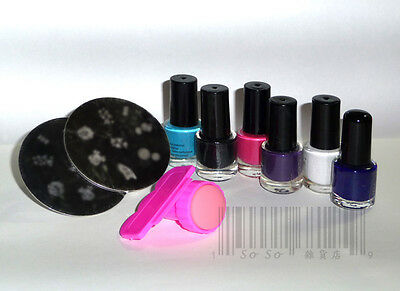 Nail Art Stamping Template Plate + Nail Polish + Stamper & Scraper