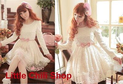 Girls Kawaii Princess Cute Sweet Dolly Gothic Lolita Lace Dress + Pink Belt