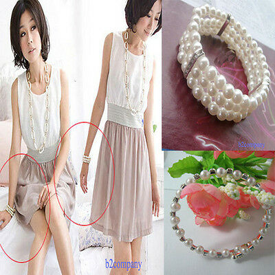 3 Layer or 1 Row Crystal Rhinestone Pearl Ball Bangle Lady Girl Elegant Bracelet