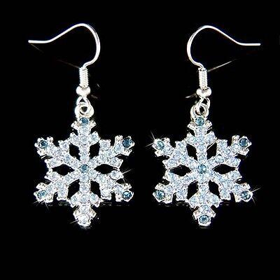 w Swarovski Crystal Rhinestone ~Blue SNOWFLAKE~ Snow Flake Holiday XMAS Earrings