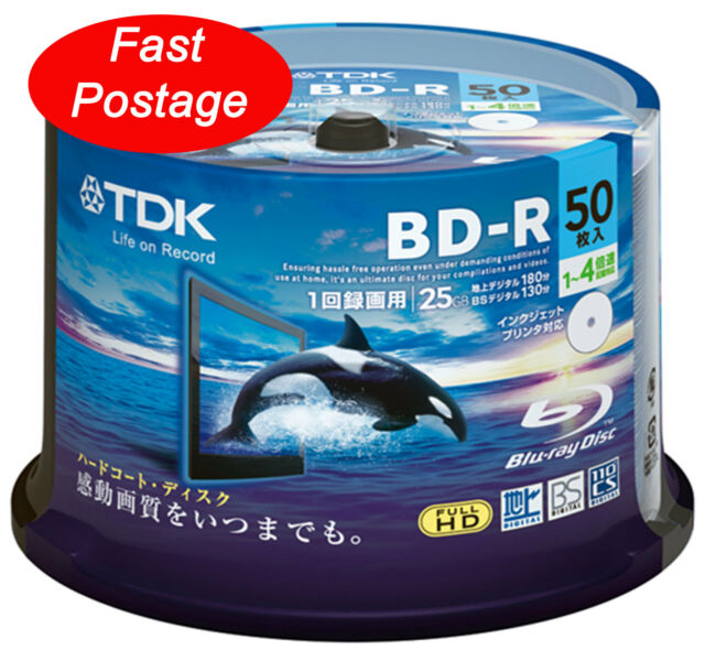 50 Hi-Disc Bluray BD-R 25GB 4x Hard Coat protection Blu-ray Disc Blank Media tdk