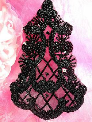 "FSSD1124 Black Beaded Cord Victorian Applique 5.25""  Sewing  Crafts 4000 items!!"