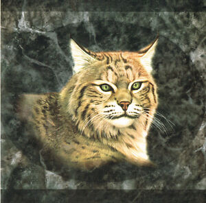 BOB-CAT-LYNX-AND-A-COUGAR-GREEN-MARBLE-BACK-GROUND-Wallpaper-bordeR-Wall