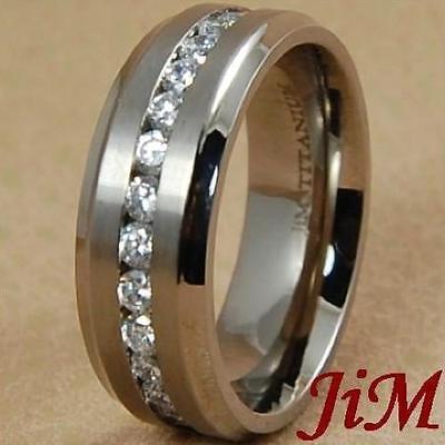 8MM Titanium Wedding Band Diamond Around Men's Ring Bridal Jewelry Size 6-13