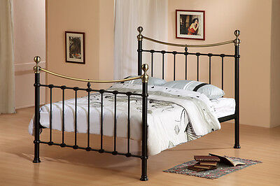 "NEW TRADITIONAL VICTORIAN 4ft 6"" BLACK METAL DOUBLE ANTIQUE BRASS BED FRAME"