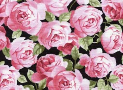 Fat Quarter Friendship Tea Pink Roses Printed Cotton Quilting Fabric 50 x 55cm