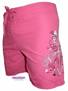 WOMENS-HOT-PINK-NO-FEAR-BOARD-SURF-SWIM-SHORTS-UK-SZ-8