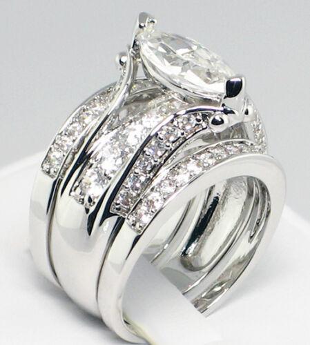 MARQUISE BRIDGE 3.55 CT. Cubic Zirconia Bridal Wedding 3 PC. Ring Set - SIZE 7