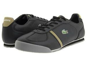 NEW-LACOSTE-MENS-ALERON-MB-BLACK-KHAKI-LEATHER-CASUAL-FASHION-SNEAKERS-SHOES