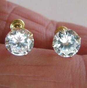 1-50-Carat-MAN-MADE-Diamond-Stud-EARRINGS-Solid-14K-Yellow-GOLD-ROUND-Screw-Back