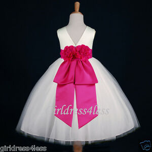 IVORY-FUCHSIA-PARTY-BRIDAL-JR-BRIDESMAIDS-FLOWER-GIRL-DRESS-18M-2-4-6-8-10-12