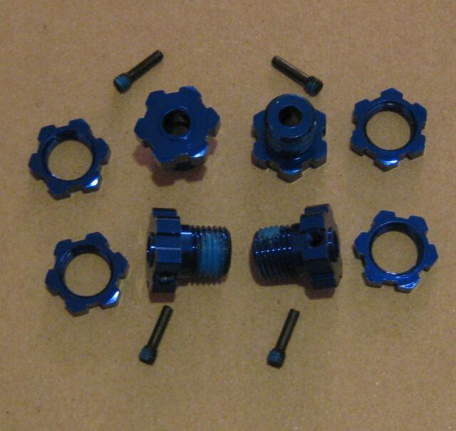Traxxas Blue 17mm 4 Wheel Hub & Nut Adapter 3.3 T-Maxx E- Revo E-Maxx & Summit