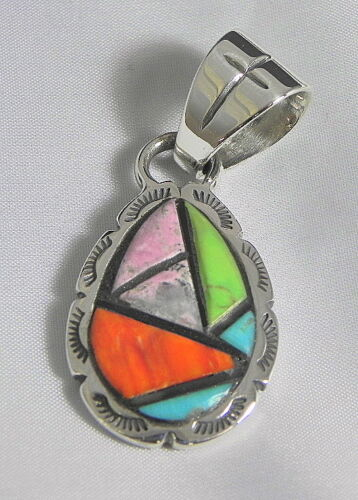 Solid .925 Sterling Silver Mosaic Inlay Pendant DeSantis Jewelry Handcrafted