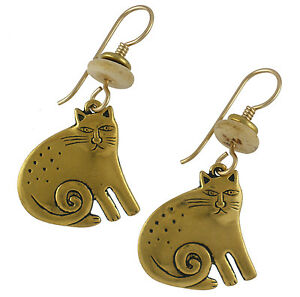 NEW-Laurel-Burch-KESHIRE-CAT-Antiqued-Gold-Over-Pewter-Earrings