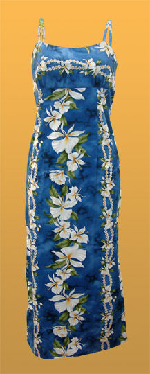 Hawaiian Long bluee Spaghetti Strap Ginger Flower Ladies Dress-S,M,L,XL,2XL,3XL