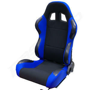 RECLINING-BUCKET-CAR-SEAT-BLUE-amp-BLACK-COLOUR-NEW-SPORTS-RACING-SEATS