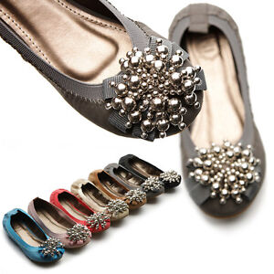NEW-Womens-Shoes-Ballet-Flat-Loafer-Soft-Comfy-Cute-Silver-Beads-Accent