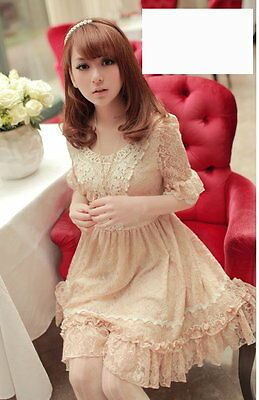 Girls Kawaii Princess Cute Sweet Dolly Lolita 3/4 sleeve Lace Dress Apricot L