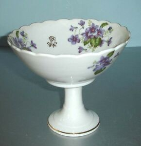 Vintage-Lefton-China-Pedestal-Bowl-Compote-Dish-Hand-Painted-Violets-Used
